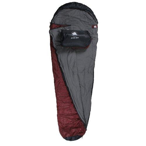 10T Arctic Sun XXL Camping Schlafsack bis -16°C Outdoor Mumienschlafsack 230x85cm Hüttenschlafsack mit 1700g Trekking Reiseschlafsack für 3 / 4 Jahreszeiten Frühling Sommer Herbst