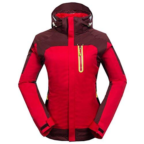 emansmoer Damen 3 in 1 Wasserdicht Atmungsaktiv Windjacke Outdoor Sport Camping Wandern Trekking Jacke mit Warme Fleecejacke (Medium, Rot)
