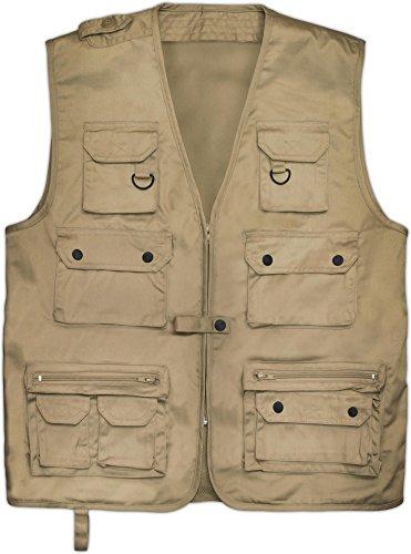 Outdoor Jagd- Angler Weste mit vielen praktischen Taschen Farbe Khaki Größe M