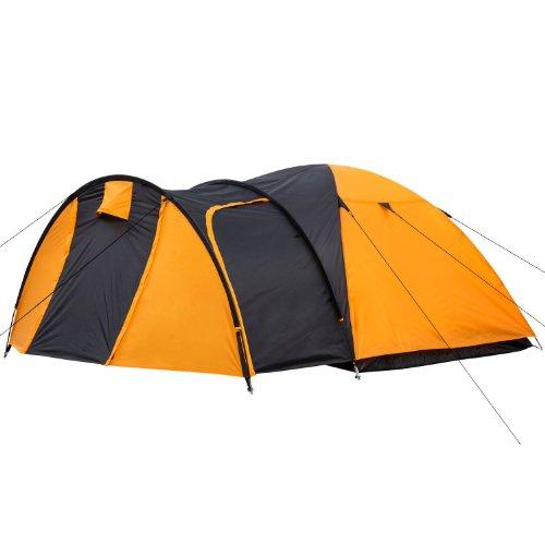 CampFeuer – Kuppelzelt Iglu-Zelt mit Vorbau für 3-4 Personen, schwarz – orange