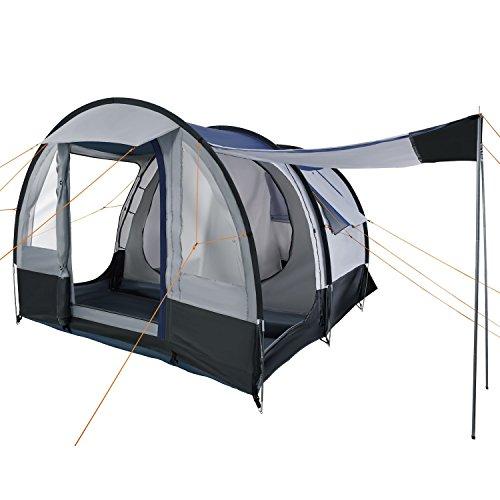 CampFeuer – Tunnelzelt, schwarz – blau/grau, 4 Personen, Campingzelt