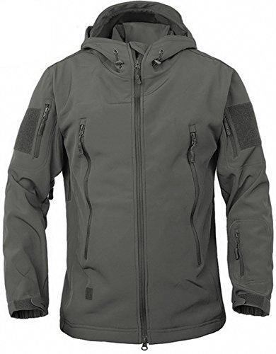 TACVASEN Herren Wasserdichte Softshell Jacke mit Kapuze Fleece-Jacke Trekkingjacke Wanderjacke Outdoorjacke Grau