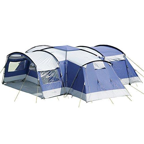 skandika Nimbus 12 Personen Familien-Zelt blau, wasserdicht durch starke 5.000 mm Wassersäule. Großes, geräumiges und robustes Steilwand-Zelt, Tunnel-Zelt mit Insekten-Netzen und über 2 m Stehhöhe