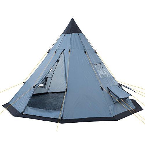 CampFeuer – Tipi Zelt (Teepee), 365 x 365 x 250 cm, grau, Indianerzelt, Camping Pyramidenzelt,