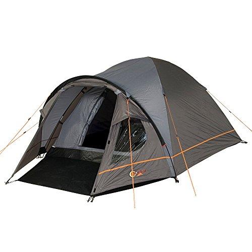 Portal Camping-Zelt Bravo 3 Kuppelzelt mit Schlafkabine für 3 Personen Outdoor Familienzelt mit Wohnraum, Dauerbelüftung, Bodenplane, wasserdicht mit 4000mm Wassersäule