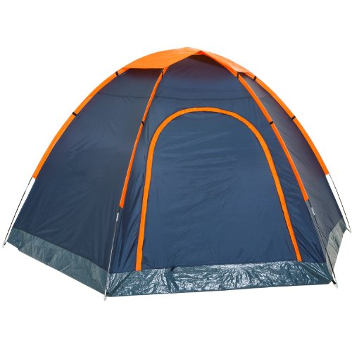 CampFeuer – Hexagon Campingzelt, Sechseckzelt, großes Kuppelzelt, blau / orange, 3000 mm Wassersäule