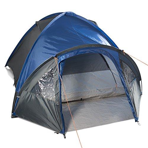 Gregster doppelwandiges Kuppelzelt / Familienzelt für bis zu 4 Personen | Einfach und schnell auszubauen durch Quick UP System | Ideal für Campingurlaube, Festivals & Wochenendtrips –  Graublau