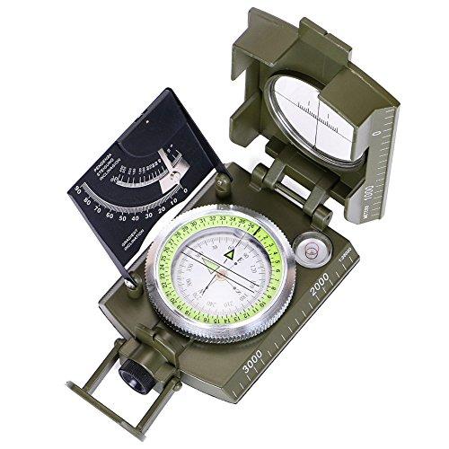 ARINO Kompass Linseatischer Kompass Professioneller Peilkompass Militär- Wanderkompass mit Leuchtziffern für Expeditionen Camping Wandern Outdoor Sport Backpacker XL mit Schutztasche