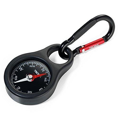 Troika Kompass Wegweiser – COS10/BK – Schlüsselhalter mit Kompass und Karabiner – schwarz – PVC/Acryl/Silikon – Aluminium – das Original