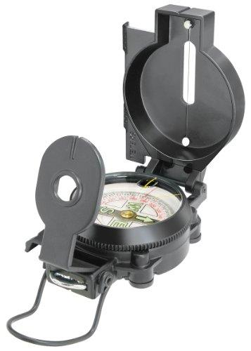 National Geographic Kompass mit schwimmend gelagerter 360° Skala, Nordpfeil, Befestigungs-Öse und Visierdraht/-spalt zum Anpeilen von Landobjekten, schwarz
