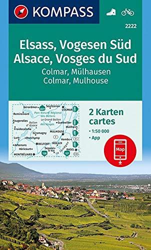 KOMPASS Wanderkarte Elsass, Vogesen Süd, Alsace, Vosges du Sud, Colmar, Mülhausen, Mulhouse: 2 Wanderkarten 1:50000 im Set inklusive Karte zur offline … (KOMPASS-Wanderkarten, Band 2222)