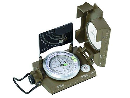 Herbertz-Kompass, flüssigkeitsgedämpfte Kapsel, 360 Grad, Dämmerungsmarken, Lupe, Anlegekante, Metallgehäuse