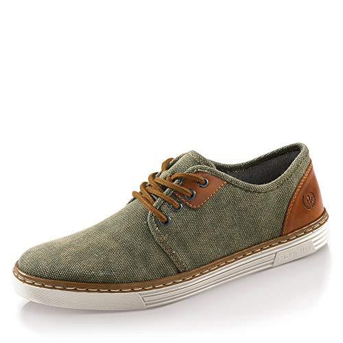 Rieker Herren B4932-53 Sneaker, Grün (Schilf/Amaretto 53), 43 EU
