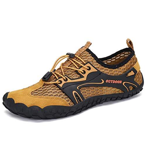 Dannto Herren Damen Wanderschuhe Trekkingschuhe Anti-Rutsch Super Atmung Wanderstiefel Sportlich Bequem Sommer LeichtOutdoor Fitnessschuhe Hiking Sneaker Barfußschuhe(Braun,39