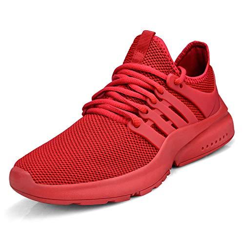 ZOCAVIA Damen Herren Sneaker Atmungsaktiv Leichte Sportschuhe Laufschuhe Wanderschuhe Outdoor Schuhe Rot 46