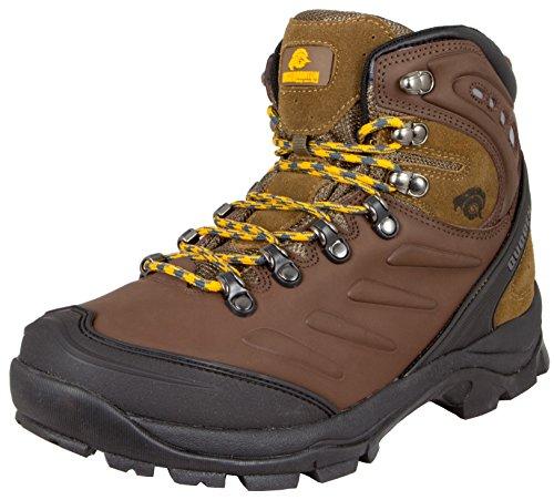 GUGGEN Mountain Herren Wanderschuhe Bergschuhe wasserdicht Outdoor-Schuhe Walkingschuhe M013, Farbe Braun, EU 44